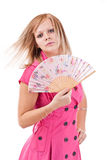 Woman with Chinese fan Royalty Free Stock Image