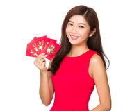 Woman and chinese pocket money. Isolated on white background Royalty Free Stock Photo