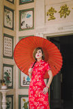 Woman chinese qipao Stock Photo
