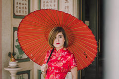 Woman chinese qipao Stock Photography