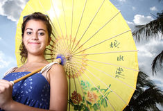 Woman with a Chinese umbrella Stock Photo