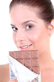 Woman with chocolate Royalty Free Stock Image