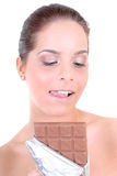 Woman with chocolate Stock Photos
