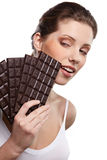 Woman with a chocolate Stock Photos