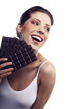 Woman with a chocolate Stock Photo