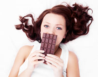 Woman with chocolate stock photo