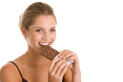 Woman with chocolate Royalty Free Stock Photo