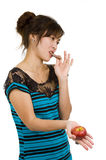 Woman with chocolate and apple Royalty Free Stock Image