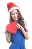 Woman with chocolate box Stock Photos