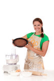 Woman chocolate cake Royalty Free Stock Photography