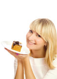 Woman with chocolate cake Royalty Free Stock Photos