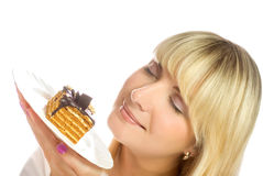 Woman with chocolate cake Royalty Free Stock Images