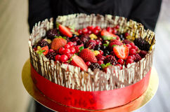 Woman with chocolate cake Stock Image