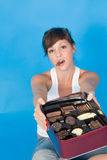 Woman and Chocolate Candy Royalty Free Stock Photography