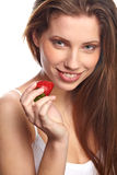 Woman with a chocolate desert Stock Images