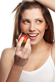 Woman with a chocolate desert Royalty Free Stock Images
