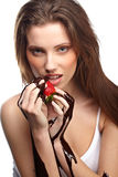 woman with a chocolate desert Stock Photo