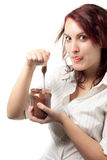 Woman with Chocolate Spread Stock Photography