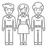 Woman choice, friends, man relations vector line icon, sign, illustration on background, editable strokes Stock Images