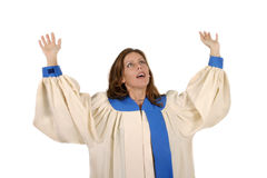 Woman In Choir Robe Praising God Stock Photography