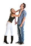 Woman choking a man Royalty Free Stock Photos