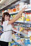 Woman choose food Stock Photo