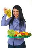 Woman choose green grape Royalty Free Stock Photos