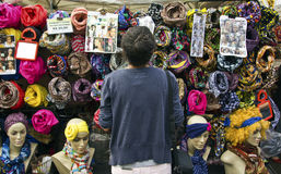 Woman choose products in a street market Stock Photos
