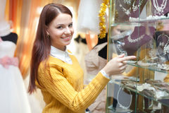 Woman chooses bridal accessories Stock Image