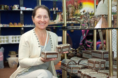 Woman chooses egyptian souvenir Stock Photos
