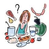 Woman chooses food royalty free illustration