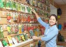 Woman chooses packed seeds at store Stock Photos