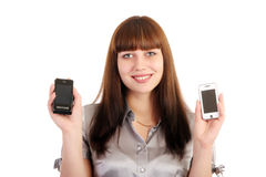 Woman chooses phone Stock Photography