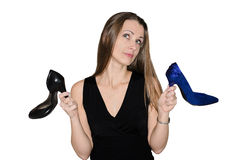Woman chooses shoes Stock Photo
