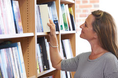 Woman Choosing A Book In Bookstore Stock Photos