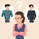 Woman choosing boyfriend vector illustration Stock Illustration