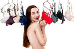 Woman choosing bras Royalty Free Stock Photos