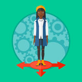 Woman choosing career way vector illustration. Royalty Free Stock Photos