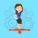 Woman choosing career way vector illustration. Caucasian young woman standing on three alternative career ways. Smiling woman choosing career way. Concept of Stock Photos