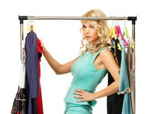 Woman choosing clothes Royalty Free Stock Photo