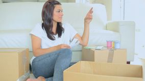 Woman choosing colour stock footage