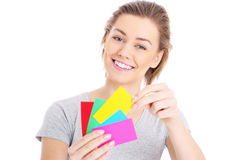 Woman choosing colours Stock Photos