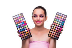 The woman choosing colours for her make-up Stock Photos