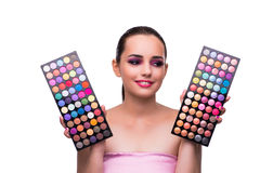 The woman choosing colours for her make-up Royalty Free Stock Images