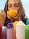 Woman choosing cosmetics Stock Image