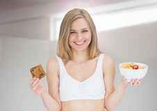 Woman choosing or deciding food with open palm Stock Photography