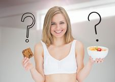 Woman choosing or deciding food with open palm and question mark icons. Digital composite of Woman choosing or deciding food with open palm and question mark Stock Image