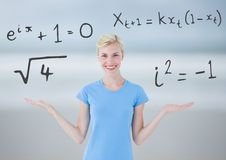 Woman choosing or deciding math equations with open palm hands. Digital composite of Woman choosing or deciding math equations with open palm hands stock images