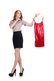 Woman choosing the dress isolated Stock Photography