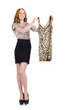 Woman choosing the dress isolated Royalty Free Stock Photo